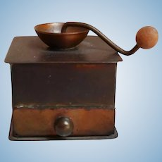 Miniature Coffee Grinder Doll House Copper or Brass Wood Knob Drawer Pulls Out