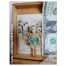 "Miniature KESTNER Doll 3 1/8"" Tall Beautiful Mohair Wig w/ Box, Linen, Poetry Booklet / Antique Dollhouse Doll"