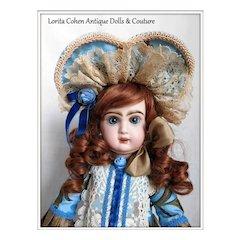 Jumeau No. 7 Bebe Diplome d'Honneur  Vintage Auburn Human Hair Cheveux Wig Made in FRANCE Nice Attire, Antique Shoes