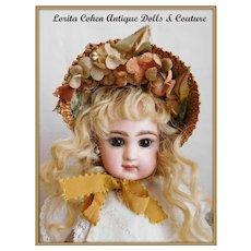 """Vintage Bonnet Chapeau Hat Fits 9"""" to 11"""" Doll Head"""