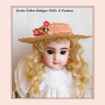 """Vintage Straw Hat Fits 9"""" to 10"""" Doll Head Floral"""