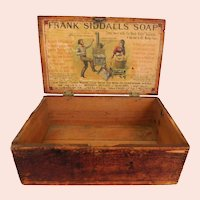 Antique Frank Siddalls Soap Primitive Wood Advertising Box Dove Tailed Corners Original Hardware Philadelphia, Pennsylvania, U.S.A. Americana