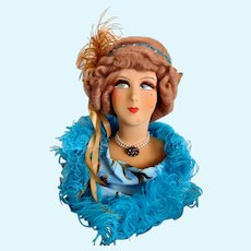 French Boudoir Papier-Mâché Bust Doll, CIRCA 1920, Full Lashes, Paper Label, Original Mohair Styled Wig, Flapper Doll