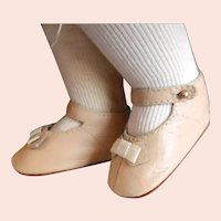 "Leather Doll Shoes Nude Color Size 2 3/4"" Length Kidd Leather LENORE Artist Made Leather Soles, Vintage; Old Store Stock"