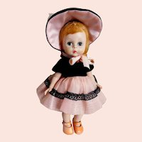 """VINTAGE Madame Alexander Doll 8"""" Tall 'ALEX' Wearing Ginny Vogue Style #55, Lt. Blonde Hair """"And Away We Go"""" Circa: 1950's"""