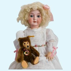 "C. M. Bergmann Waltershausen 1916 6 1/2a / German 24"" Tall Doll with Victorian Dress CUPID ANGEL Lace / Mohair Wig / Leather Shoes LOVELY!"