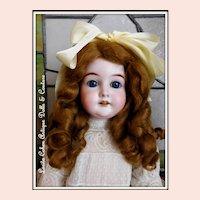 "Antique 29 Karl Hartmann 22"" German Doll FABULOUS Victorian TAMBOUR Lace Dress / Leather Shoes / Long Honey Blonde Mohair Wig"