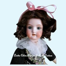 "ADORABLE Heubach Koppelsdorf 250-9/0 German Doll 13 1/2"" Bisque Socket Blue/Gray Spiral Glass Sleep Eyes Souvenir Doll GERMANY"