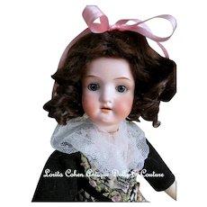"Heubach Koppelsdorf 250-9/0 German Doll 13 1/2"" Bisque Socket Blue/Gray Spiral Glass Sleep Eyes Souvenir Doll GERMANY"