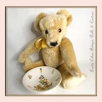"Vintage 16"" Merrythought Growler Bear w/ Vintage BOWL Mohair #00728 of 2,500 Lt. Blonde English Porridge Bowl James Kent OLD FOLEY"