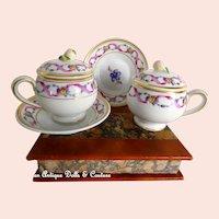 RARE Vintage Richard Ginori Set of Two (2) Covered Chocolate Pots w/ Saucers RAPALLO Pattern Use for Dolls, Jumeau, Bru