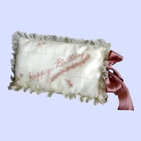 Carlin Comforts Happy Birthday Vintage Lace Embroidered Sachet Pillow SAKS FIFTH AVENUE Circa 1960 Very COLLECTIBLE! Mauve / Crème