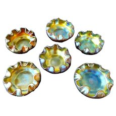 Tiffany Favrile Glass Set of 6 Salt Cellars EXCEPTIONAL QUALITY Original Paper Labels! Complete Your Table~ Tiffany Studios, New York c1896