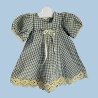 Vintage Gingham Doll Dress Circa 1940's Hand-Made NICE CONDITION!~ Doll Hanger Included