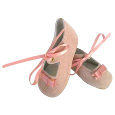"""Doll Shoes Small Suede Leather Dusty Rose/Pink Couleur, Artist Stamp 'LEONORE' Old Store Stock NEVER USED!~ 2 3/4"""" Length"""