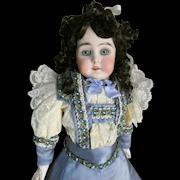 Kestner Alphabet Series G Doll Turned Shoulder Head. Amazing Eyes!  Lovely antique ensemble w/ bag.