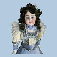Kestner Bisque Turned Shoulder Head Doll. Amazing Eyes!  Lovely antique ensemble w/ bag.