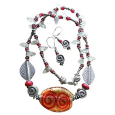 """Venetian Murano Glass Silver Necklace & Earrings SET Tribal Style; Balinese Silver, Glass & Metal Seed Beads, Hand-Made 20"""" Length, Earrings 1 1/2"""" Drop.  Secure euro backs on earrings & lobster clasp on necklace; both .925 Sterling."""
