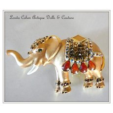"""Vintage Costume Elephant Pin ~ 2 1/2"""" Across Trunk Up!~"""