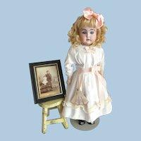 """Kestner 22"""" Antique Doll Turned Shoulder Head Bisque Included with Rare Framed Photo of Original Owner"""