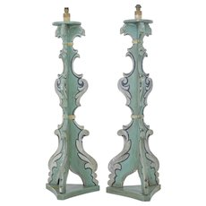 Pair of 20th Century theatrical painted floor lamps