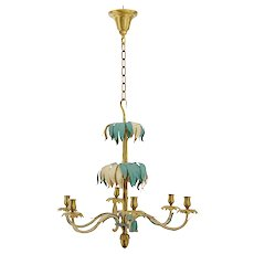 1960's french decorated brass palm chandelier by Bagues