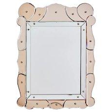 1960's French peach segmented mirror