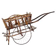 Early 20th century bamboo 2 seat child carriage