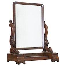 19th Century early Victorian mahogany vanity mirror