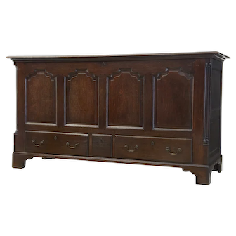 18th Century large English oak mule chest coffer