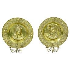 Pair of 19th Century brass memorial plaque sconces