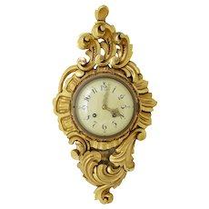 20th century Swedish gilt carved ornate wall clock ross exacta