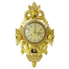 20th century Swedish gilt carved ornate wall clock imp fhs
