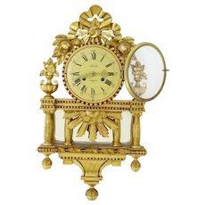 20th century Swedish ornate gilt wall clock by Skandia of Stockholm