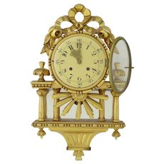 20th Century swedish gilt wood wall clock