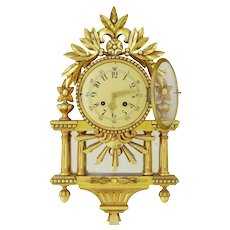 Decorative 20th century Swedish gilt carved wood wall clock
