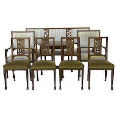 Early 20th Century 8 piece carved mahogany salon suite