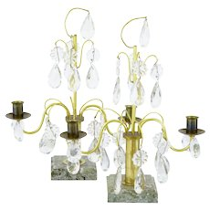 Ornate Pair of 1930's brass and cut glass decorative candlesticks