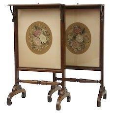 Fine pair of rosewood Regency fire screens