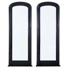 Pair of 19th Century ebonized floor standing mirrors
