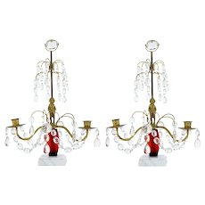 Pair of 1950's cut glass Candelabra with marble base