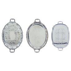 Collection of 3 Silver plate ornate trays