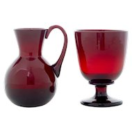 2 piece's of 1950's red art glass by Monica Bratt