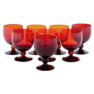 20th century 1950's set of 8 red art wine glasses by Monica Bratt