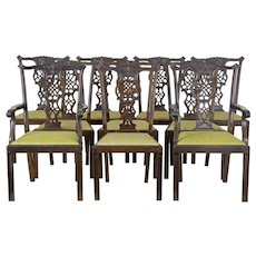 Set of 8+2 19th century carved Swedish birch Chippendale design dining chairs
