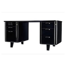 1950's Scandinavian black lacquered desk