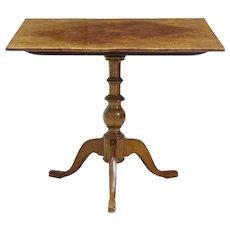 19th Century alder root tilt top square table