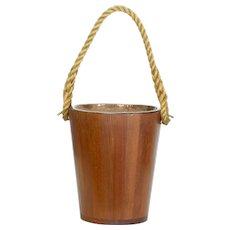Decorative 20th Century teak bucket with rope handle