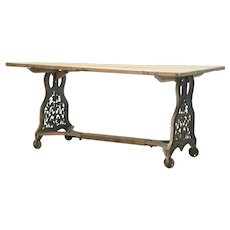 19th century Cast Iron base table with pine top