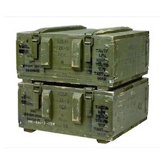 Pair of 20th Century 1950's pine ammo boxes